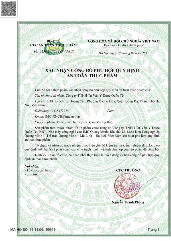 Cấp phép của Bộ Y Tế và Cục VSATTP cho sản phẩm Vương Bảo 1